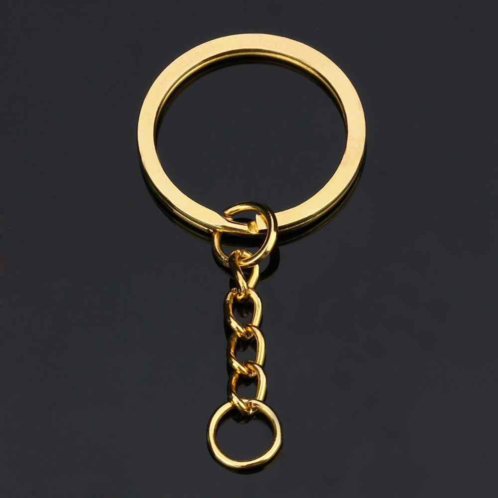 10 pçs/lote Chave Anel Chave Da Cadeia de Ródio Ouro Bronze Antigo 60mm Longa Rodada Dividir Chaveiro Chaveiros Jóias Fazendo Massa Atacado