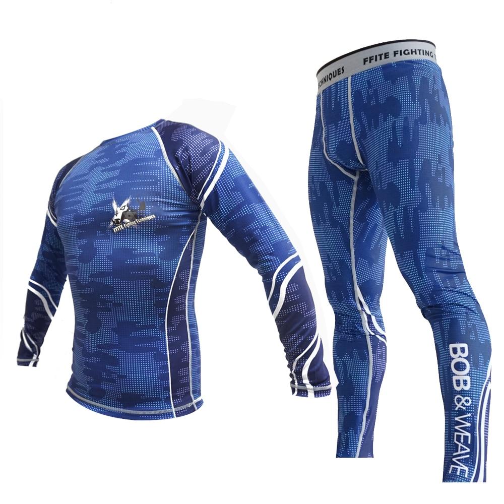 Men Compression Set Muay Thai Mma Kick Boxing T-shirt Running Leggings Bjj Trousers Tights Fitness Jerseys Grappling Fight Pants