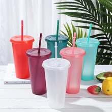 Tasse de paille réutilisable en poudre brillante, tasse à paillettes, tasse à jus de café, fond en plastique personnalisé, tasse Portable d'extérieur