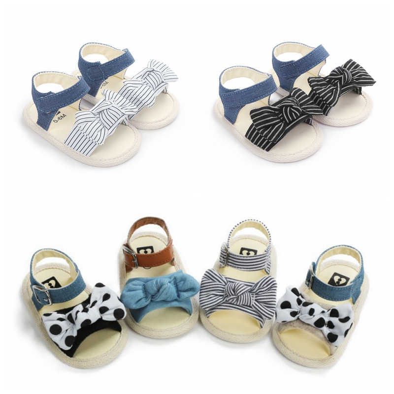 Summer Newborn Baby Girl Sandals Striped Soft Sole Baby Shoes Prewalker Princess Sandals For Girls