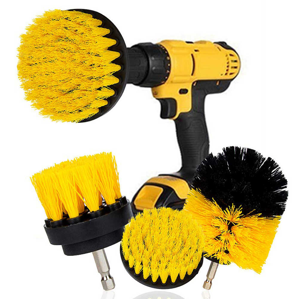 3 x Stiff Brushes with Drill Attachment Scrubbing Brush for Cleaning Car Tire