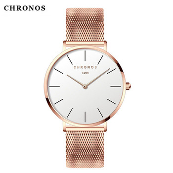 CHRONOS Women Men Watch Simple Dial Fashion Unisex Casual Dress Quartz Stainless Steel Mesh Watch Silver Clock Relogio Feminino creative dial display women watch lady casual fashion clock stainless steel mesh band desgined quartz watch female gift shengke