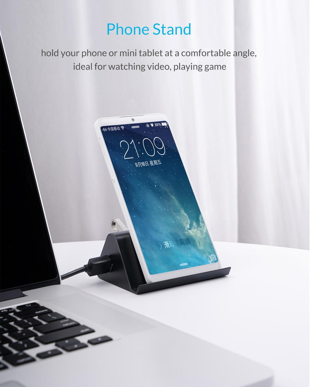 ORICO 5Gbps High Speed Mini 4 ports USB3.0 HUB Splitter for Desktop Laptop with Stand Holder for Phone Tablet PC - Black / White