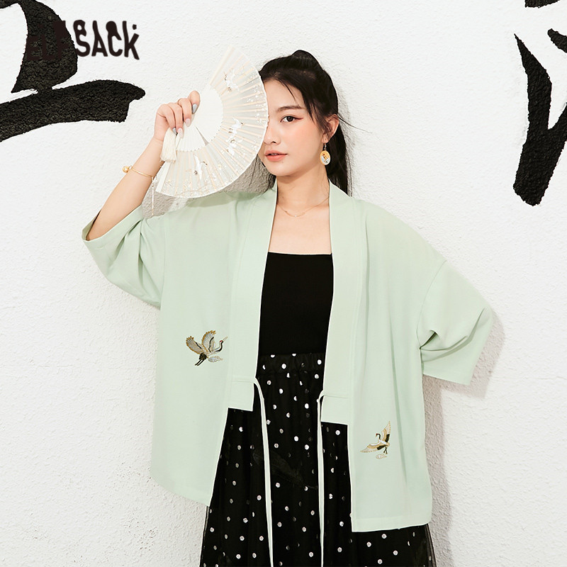 ELFSACK Green Crane Embroidery Casual Korean Kinomo Women Clothing 2020 Summer ELF New Black Vintage Lace Up Ladies Daily Coat