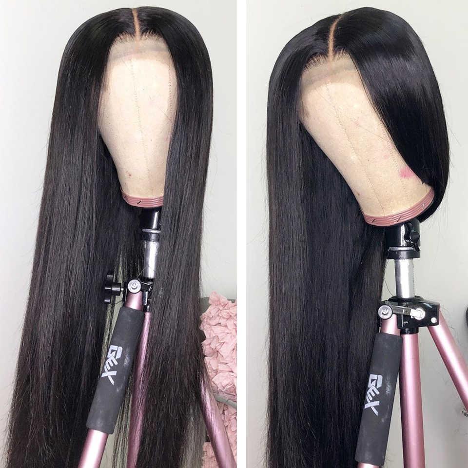 Pelucas frontales de encaje recto 13x4 pelo humano predesplumado línea de cabello 150% densidad 2 uds pelucas de pelo lacio peruano Remy con pelo de bebé