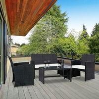 Costway 4 PCS Outdoor Rattan Wicker Furniure Set Sofa Kaffee Tisch W/Schwarz Kissen auf