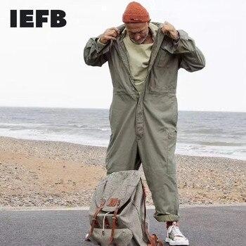 IEFB men's wear multi-pockets workwear jumpsuit black green single breasted loose long sleeve turn down collar trousers 9Y4105 1