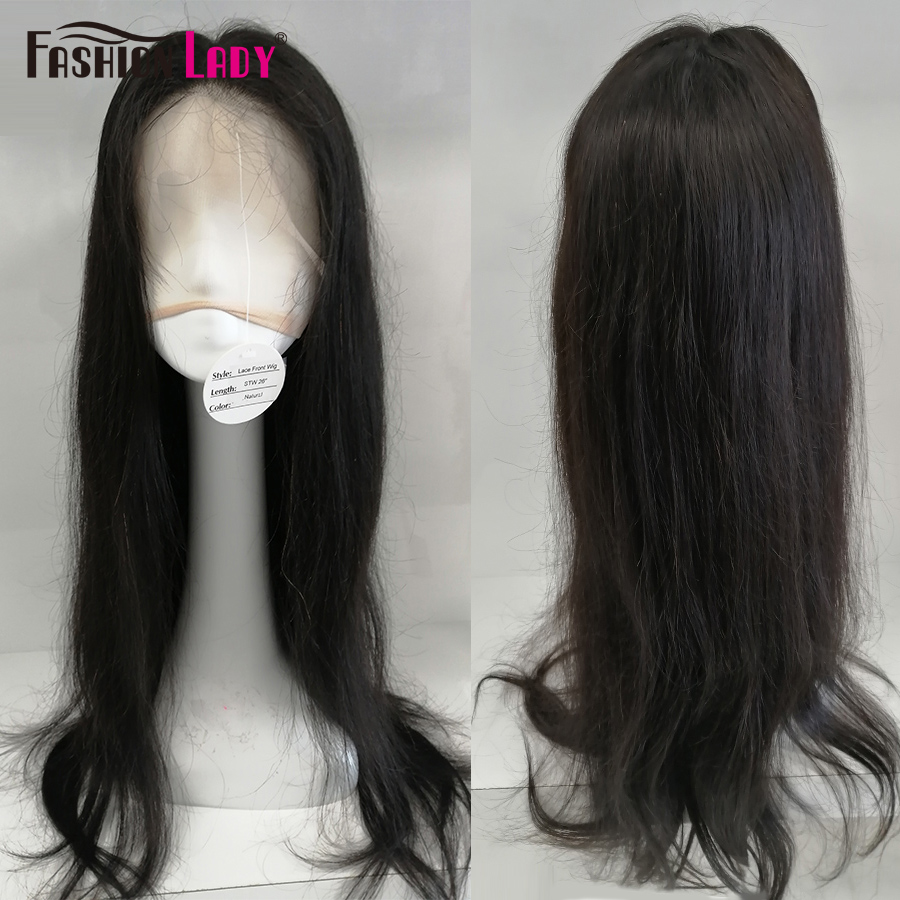 FASHION LADY Peruvian Straight Natural Hair Wigs Lace Front Human Hair Wigs Middle Part Wig