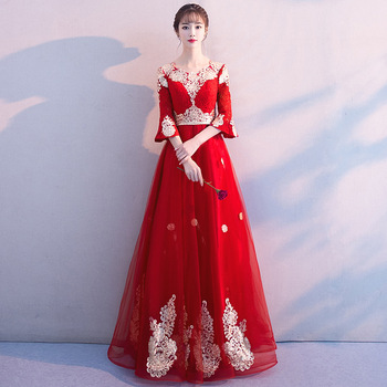 Women Red Bridal Wedding Dress Sexy Off Shoulder Qipao 2020 New Long Mesh Dresses Chinese Style High Waist Toast Cheongsam