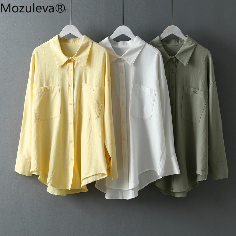 Mozuleva Basic White Shirts for Women Spring Summer Turn-down Collar Double Pockets Office Ladies Blouse Female Tops Blusas 2020 1