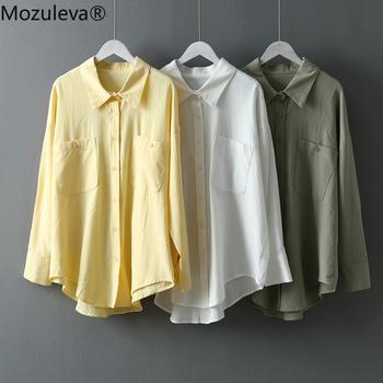 Mozuleva Basic białe koszule dla kobiet wiosna lato skręcić w dół kołnierz dwie kieszonki biurowa damska bluzka bluzki damskie Blusas 2020 tanie i dobre opinie COTTON REGULAR Kieszenie Pełna Na co dzień Suknem Stałe 100 Cotton female women shirts