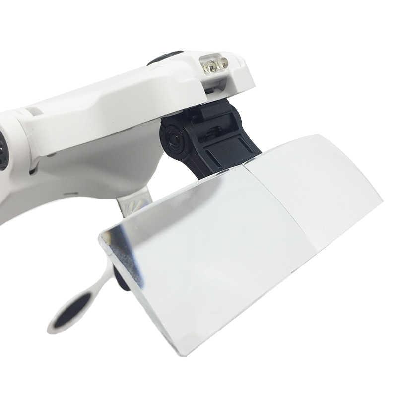LED Menyala Kacamata Magnifier Helm Bando Kaca Pembesar 5 Buah Lensa Alat untuk Watch Clock Memperbaiki Gigi Bulu Mata
