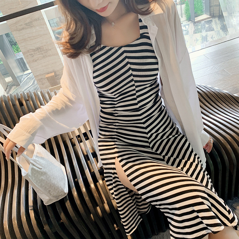 2019 New Style Korean-style Autumn Camisole Black And White Stripes Dress + Loose-Fit Shirt Tops Two-Piece Women's F7504