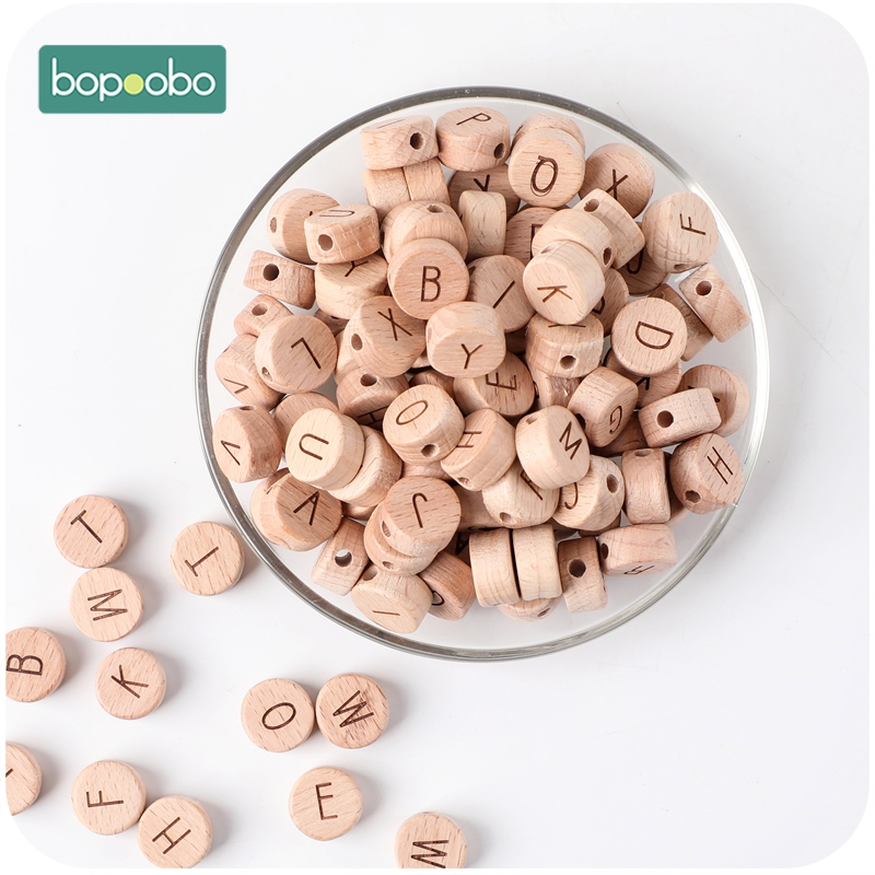 Bopoobo 10pc Wooden English Alphabet Beads Letter BPA Free Food Grade Material For DIY Baby Teething Necklace Baby Teether Beads