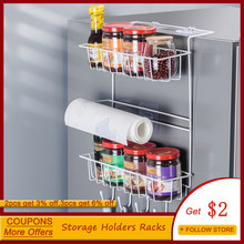Creative Refrigerator Side Rack Kitchen Shelf Storage Racks Wall Hanging Multi-Function Spice Storage Holders Household Goods