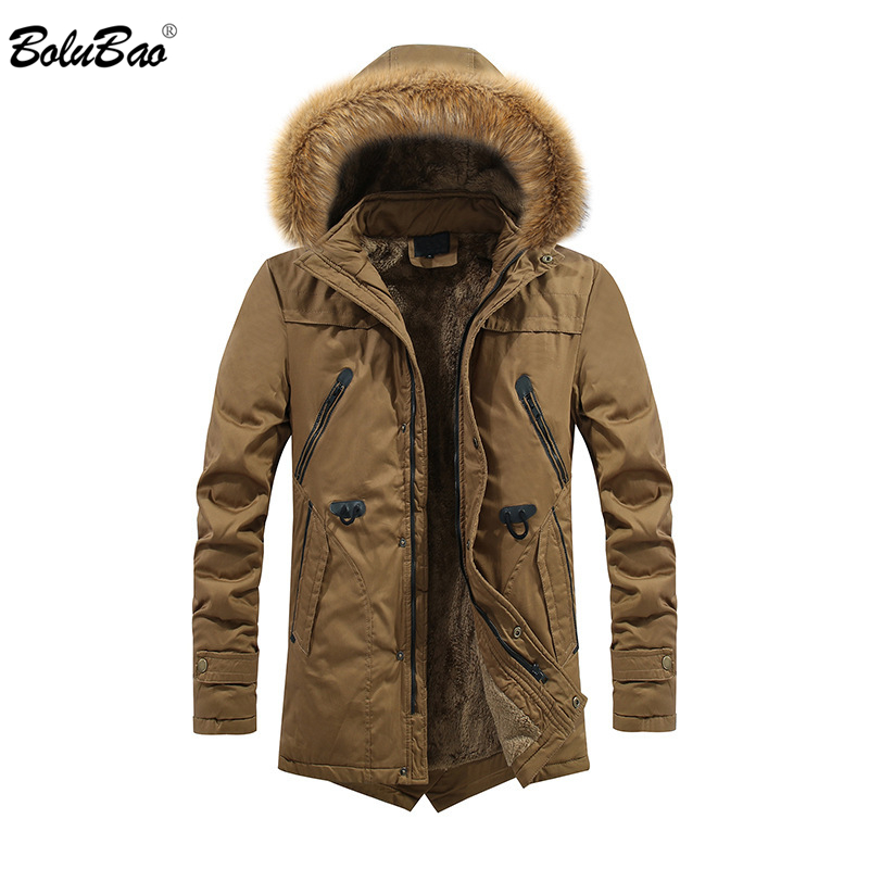 BOLUBAO Men Winter Parka Men's Fashion Brand Multi-Pocket Zipper Warm Thick Hooded Jacket Male Casual Parkas Coat