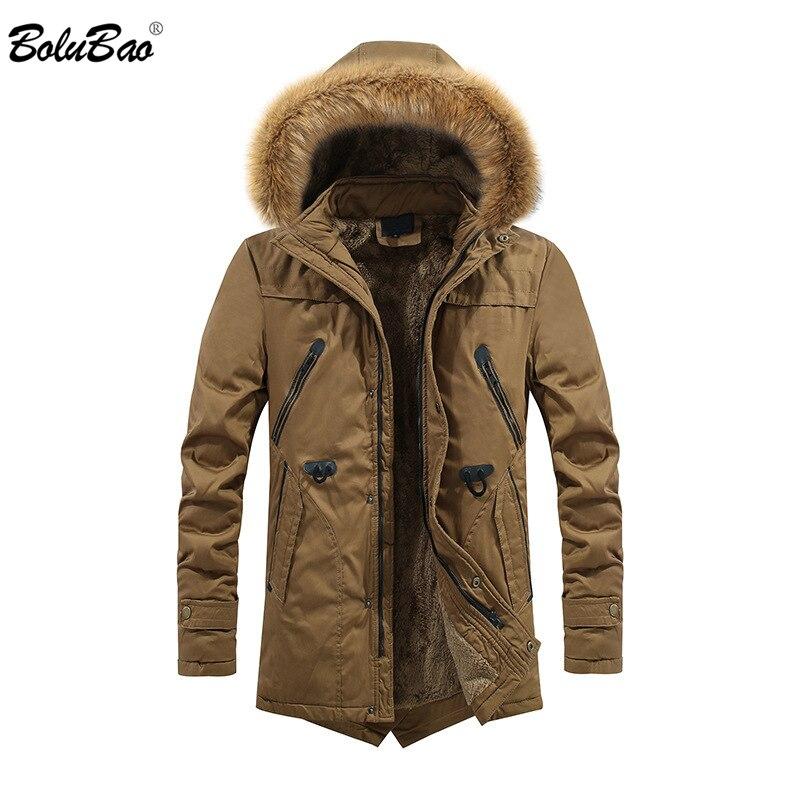 BOLUBAO Men Winter   Parka   Men's Fashion Brand Multi-Pocket Zipper Warm Thick Hooded Jacket Male Casual   Parkas   Coat