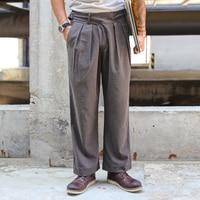 Saucezhan Suit Pants Dress Pants Mens Dress Pants Autumn Woolen Cloth Pant of Glory Gurkha pants VINTAGE Suit Trousers for Men