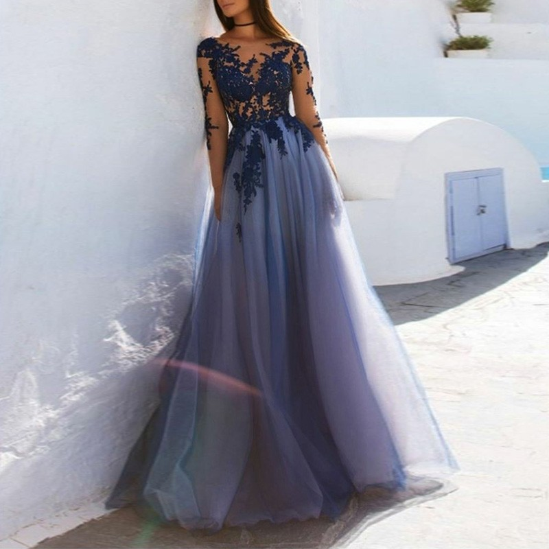 A-Line Floor Length Bateau Long Sleeves Open Back Dark Blue Prom/Evening Dress With Appliques