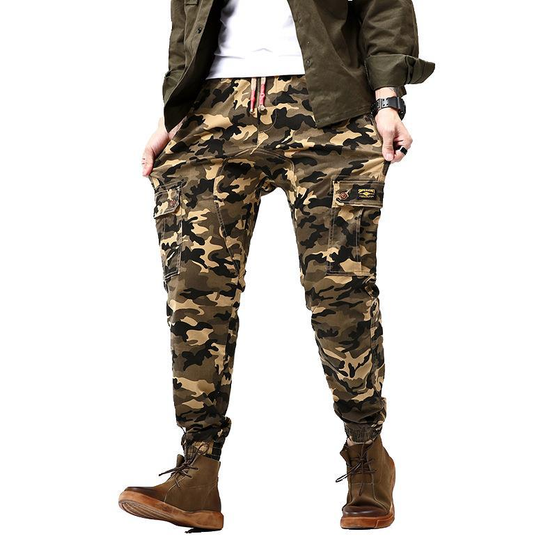 Autumn New Style Men Lace-up Loose-Fit 9 Points Casual Bib Overall Teenager Camouflage Beam Leg Harem Pants