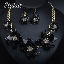 2PCS High Quality Black Resin Acrylic Flower Necklace&Earrings Wedding Jewelry Set For Female Statement Gold Chain