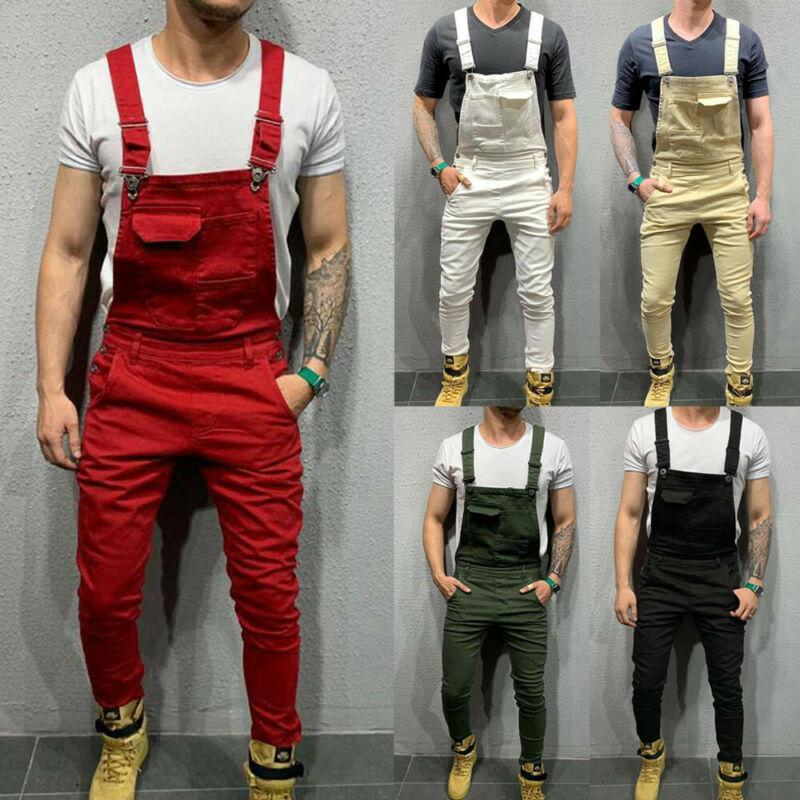 Men Bib Pants Denim Jeans Suspenders Overalls Straight Skinny Jumpsuits Trousers