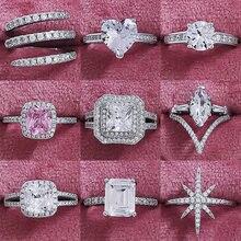 Moda lüks 925 ayar gümüş nişan düğün Eternity Band Promise yüzükler kadınlar için ayarlanabilir noel hediyesi takı Z1