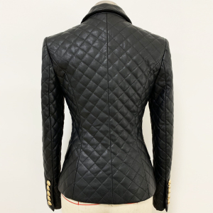 Image 4 - TOP QUALITY 2020 Newest Designer Jacket Womens Double Breasted Lion Buttons Grid Sewing Synthetic Leather Blazer