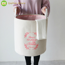 1PC Laundry Basket Nordic Style Cotton and Linen Collapsible Dirty Hamper Large Storage Toy Bucket