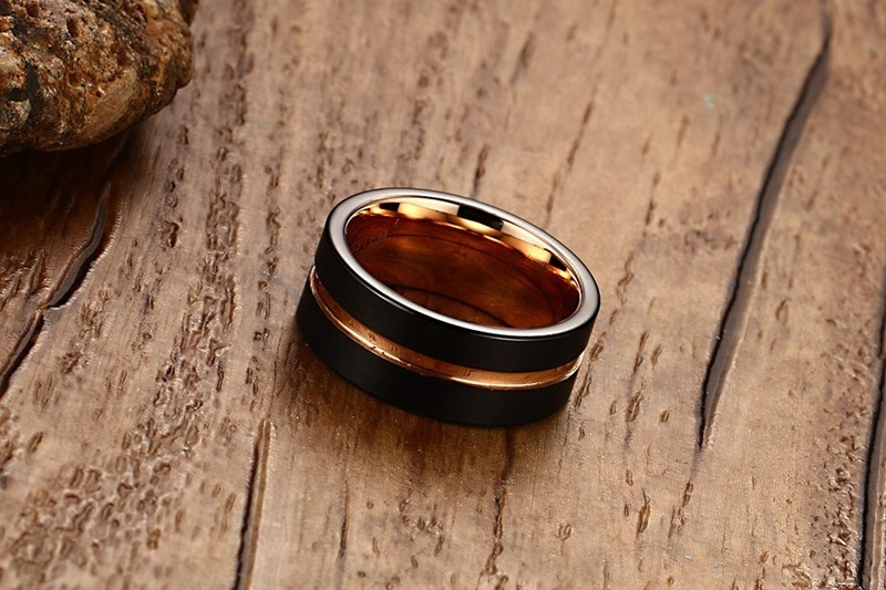 Fashion Mens Rings 8mm Black Brushed Tungsten Carbide Ring Rose Gold Inlay Groove Flat Cut Edge Men Wedding Band Jewelry anel masculino 19