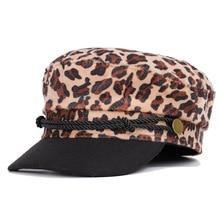 2019 new Leopard berets ladies in autumn and winter England Japanese Joker flat top cap Cap