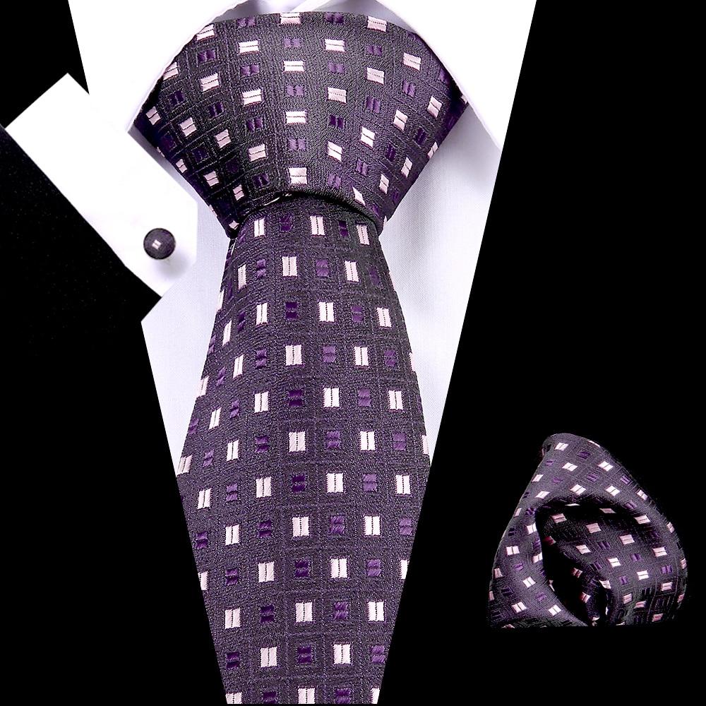 Luxury Classic Design Purple Plaid  7.5cm Tie 100% Silk Jacqurd Weave Neckties Set For Men Business Wedding Partyparty