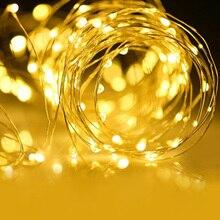 2 м 5M10M светодиодный светильник, светильник в полоску, медный провод, батарея 3AA, Рождественский светильник для гирлянды, праздничная фея, декор для свадебной вечеринки