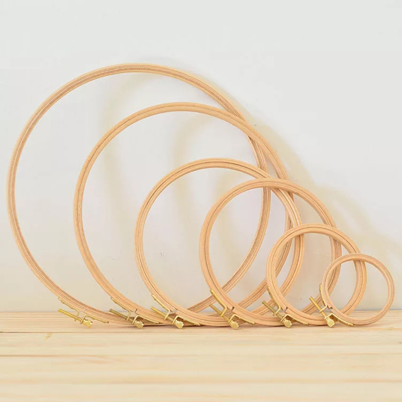 10-40cm mini Marco de aro de bordado de madera para kit aro grandes accesorios para herramientas de costura madera bordado punto de cruz Bambú