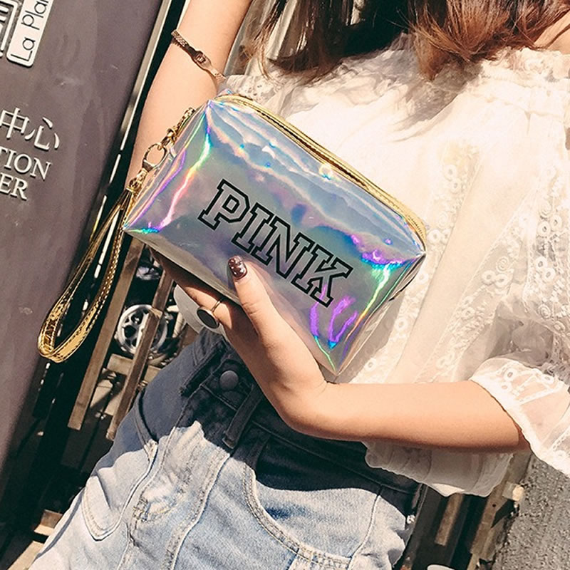 Women Fashion Laser Pink Cosmetic Bag Zipper Make Up Handbag Organizer Storage Case Pouches Toiletry Wash Beauty Makeup Kit Box