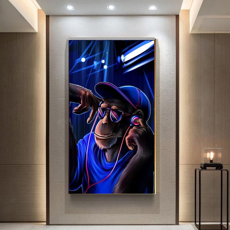 >Modern Pop Art DJ Monkey Orangutan Canvas Painting <font><b>Home</b></font> Decoration Wall Art Poster Print Wall Picture for Living Room