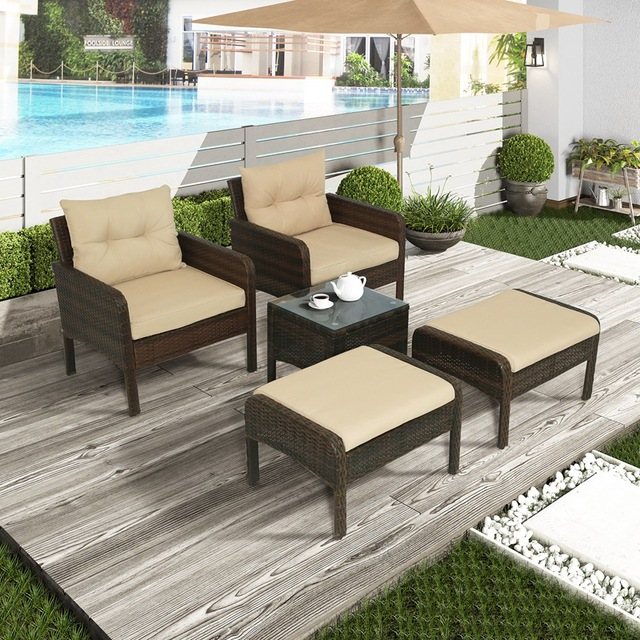 5-Piece PE Rattan Wicker Outdoor Patio Furniture Set With Glass Table 1