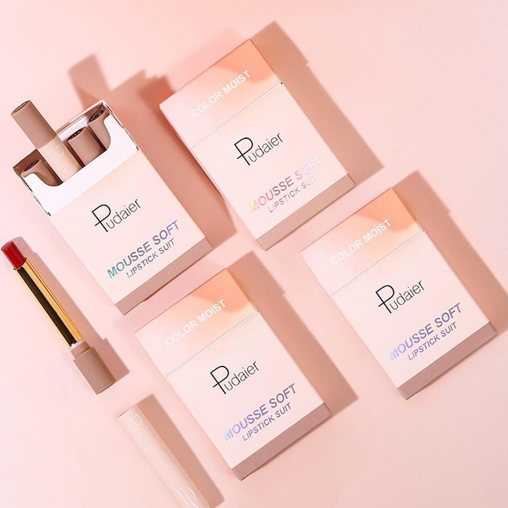 Pudaier Matte Lipstick Set Makeup Small Smoke Tube Cigarette Lipstick Matte Batom Soft Moisturize Not Dry Maquiagem