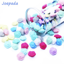 Joepada 10Pcs/lot Mini Rose Flower Silicone Beads BPA free for DIY Baby Teething Jewelry Necklace Accessories Toy Teether