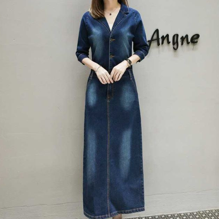 Plus Size 5XL Long Denim Dress Women Jurken V-Neck Maxi Jeans Dress Elegant Robe Longue Femme Vintage Woman Dress AQ753