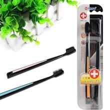 2 шт./упак. с черными бамбуковыми Зубная щётка Эко-дружественных щетка Зубная щетка вмятины мягкий древесный уголь Нано-зубная щетка электрическая зубная щетка для взрослых