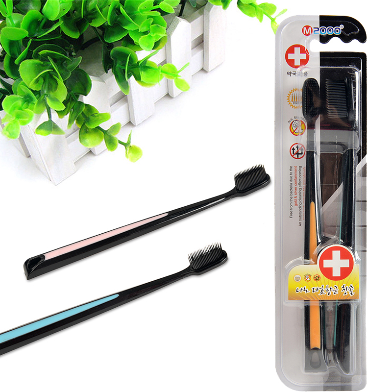 2pc/Pack Black Bamboo Toothbrush Eco friendly Brush Tooth Brosse a Dents Soft Charcoal Toothbrush Nano Tooth Brush Adults image