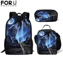 FORUDESIGNS 3Pcs/set Backpack for Boys Wolf Tiger Printing Students Schoolbag Kids Child Gift Primary Bookbag Travel Bag 2019