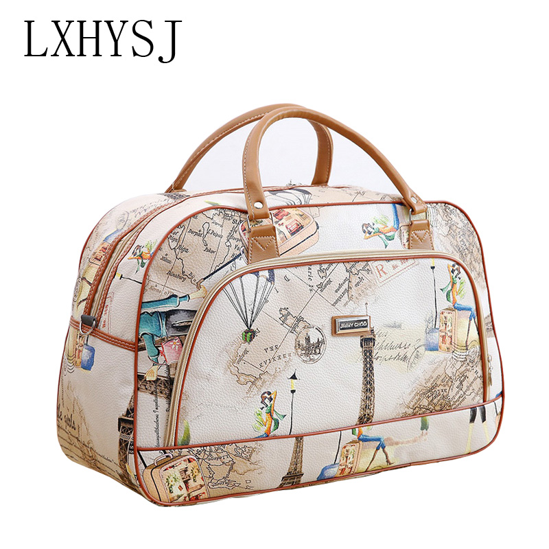 Fashion Women Travel Bags  PU Leather Large Capacity Waterproof Print Luggage Duffle Bags Casual Portable Travel Bag