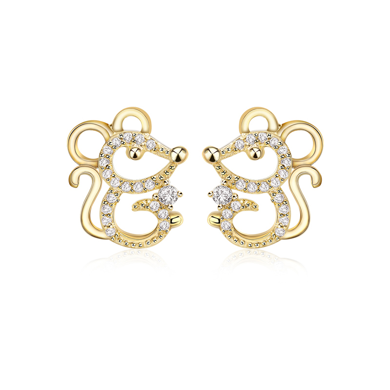 2020 New Cute Gold Color Mouse Stud Earrings For Women Fashion Cubic Zircon Animal Earrings Girls Party Jewelry Wholesale