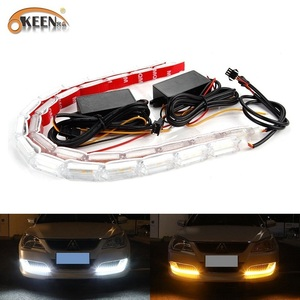 OKEEN 2pcs Waterproof Flexible Universal Car Led DRL Daytime Running Light White Headlight LED Strip Flowing Turn Signal Lights