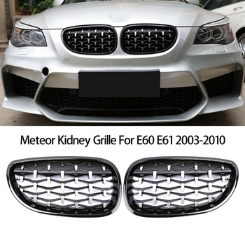 Front Bumper Kidney Grill Diamond Grille for BMW E60 E61 5Series 550I 535I M5 2003-2010 Meteor 1pair gloss car front sport grill kidney black grilles front hood kidney grille for bmw 5 series m5 e39 e60 e61 2003 2009