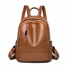 2019 النساء حقائب جلدية الإناث السفر Bagpack السيدات Sac دوس الحقائب المدرسية للفتيات Preppy نمط قدرة كبيرة حزمة