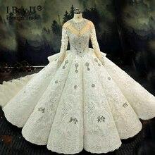 100% תמונה אמיתית יוקרה בלינג 3D אבנים חתונת שמלה ארוך שרוולים 2020 קריסטל כדור שמלה נפוחה 180cm רכבת