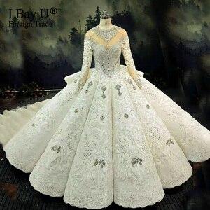 Image 1 - 100% de boda con piedras en 3D, vestido de novia de lujo con foto Real, mangas largas, vestido de baile de cristal 2020 hinchado, tren de 180cm